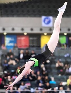 Chloe Spinks competing at Trampoline Leagur